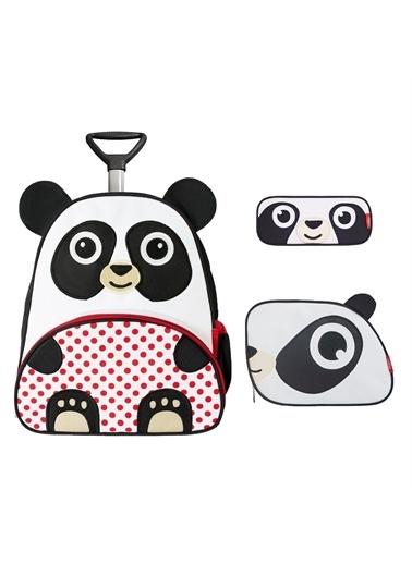 Zoozy Panda Çekçekli Çanta Seti (Çekçekli Sırt Çanta-Beslenme Çantası-Kalemlik) Renkli